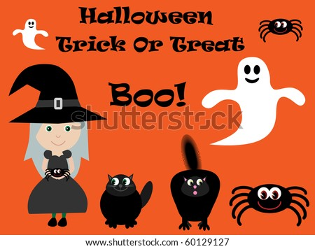Vector Halloween characters - witch, spiders, ghosts & cats - stock vector