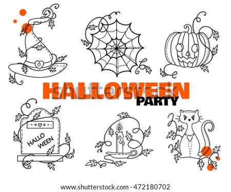 Vector Halloween Elements Coloring Book Witches Stock Vector ...