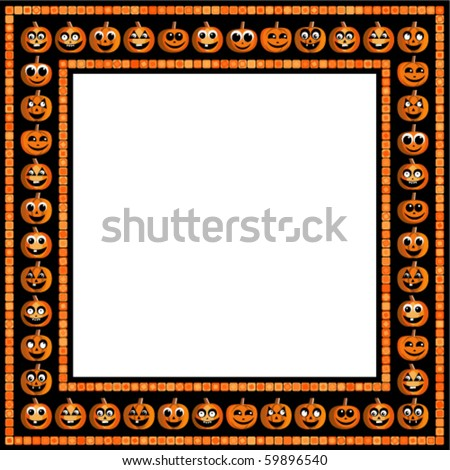 Vector Halloween frame with funny pumpkins on black background - stock vector