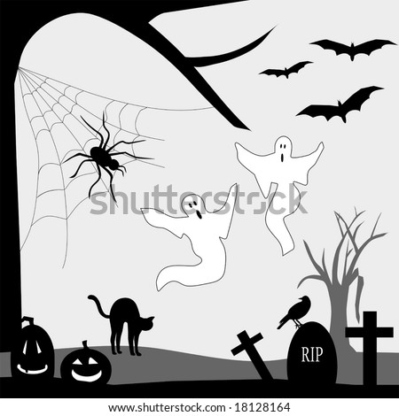Vector Halloween Graveyard is original artwork.