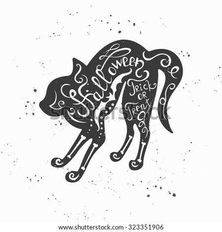 Vector Halloween hand drawn typographic poster with black cat. Trick or treat. - stock vector