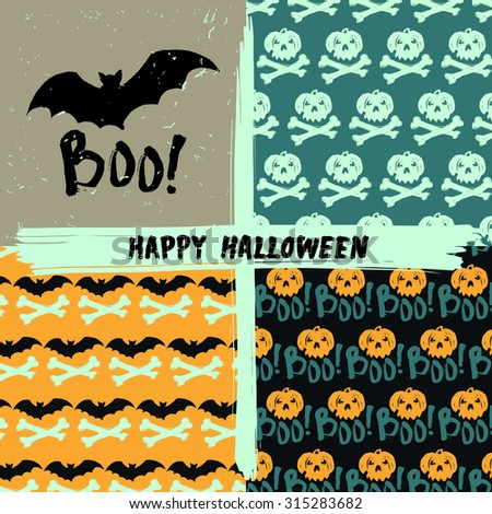 "Vector Halloween holiday seamless pattern set with ""Boo!"" poster"