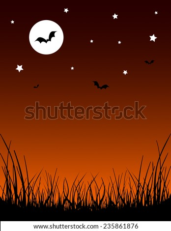 Vector Halloween illustration of silhouette grass, a deep orange gradient night sky, bats, & a bright white crescent moon and stars. Vertical format with space in the center for copy text. EPS 10. - stock vector