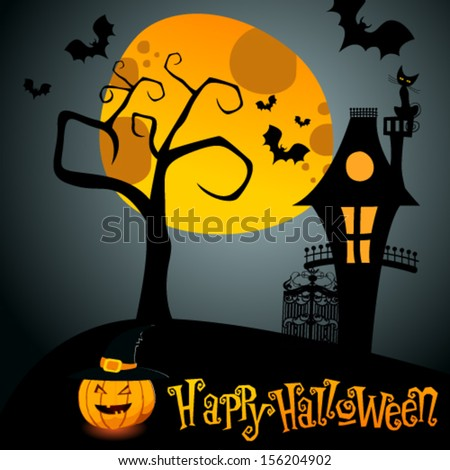 Vector Halloween illustration with full Moon, Jack O'Lantern and scary house - stock vector
