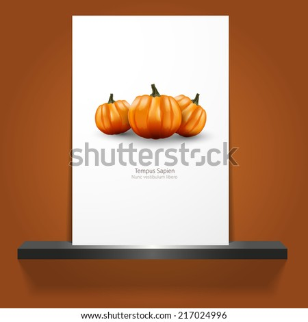 vector halloween invitation border with pumpkins for flyer or poster design.  - stock vector