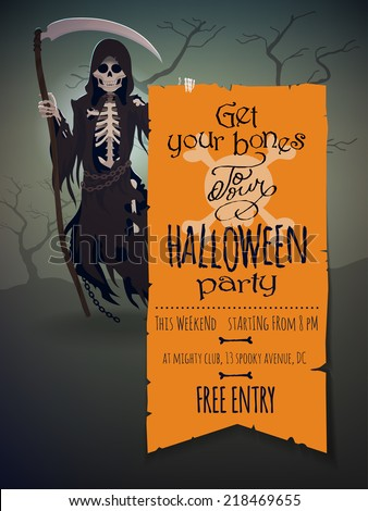 Vector halloween invitation template featuring death stock vector vector halloween invitation template featuring death character with scythe holding poster with information about halloween party stopboris Gallery