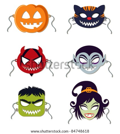 Vector Halloween masks - stock vector