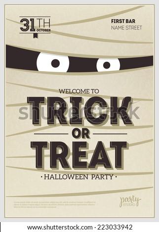 Vector Halloween Party Poster. Mummy - stock vector