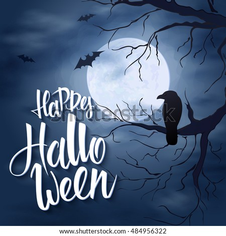 Vector halloween poster hand lettering greetings stock vector hd vector halloween poster with hand lettering greetings label happy halloween on night sky with m4hsunfo