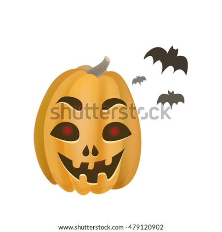 Vector halloween pumpkin with bats. Vector illustration isolated on white background.