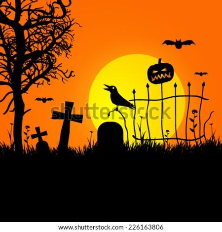 Vector halloween spooky graveyard background illustration - stock vector