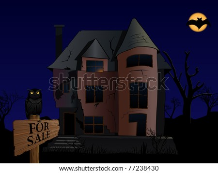 vector halloween themed illustration of old spooky house with owl and bat - stock vector