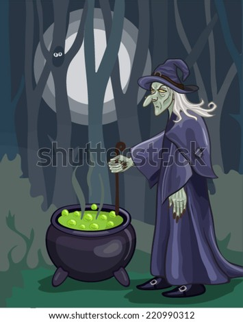 vector halloween witch potion