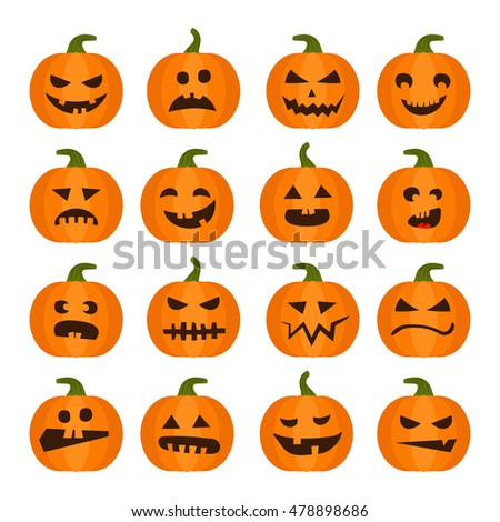 Vector halloweens pumpkin set illustration icons isolated on white background. Halloween holiday facial expressions spooky food