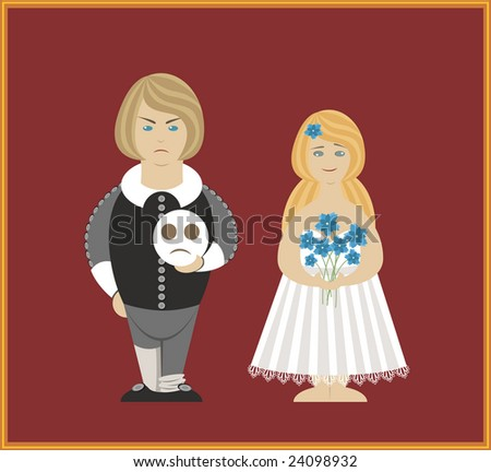 Vector Hamlet and Othelia Dolls - stock vector