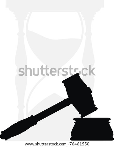 Vector hammer and anvil - symbols of law,  hourglass - isolated illustration  - black and gray silhouette on white background. Gavel - stock vector