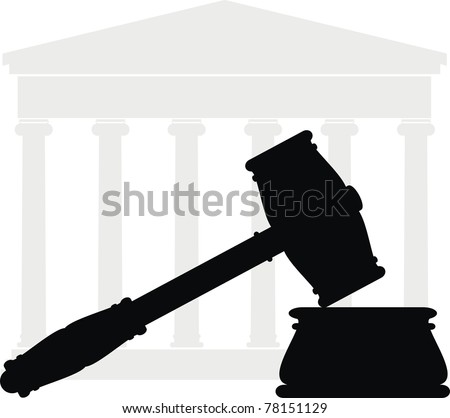 Vector hammer, anvil, Portico (Colonnade, ancient temple, court) - symbols of law - isolated illustration - black and gray silhouette on white background - stock vector