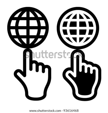 vector hand and globe black symbol - stock vector