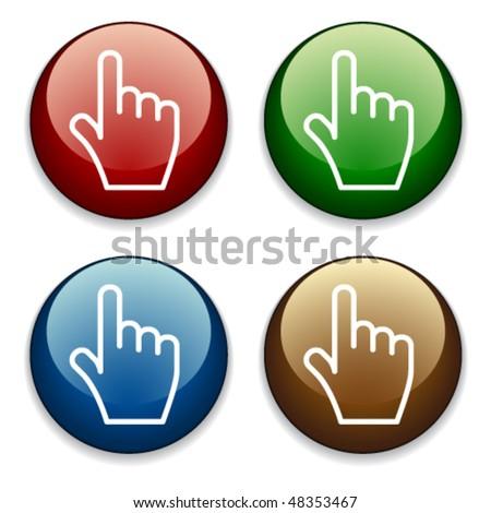 vector hand buttons - stock vector