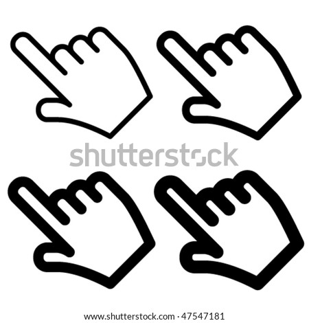 vector hand cursors - easy change thickness line - stock vector