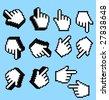 Vector hand cursors for design. - stock vector