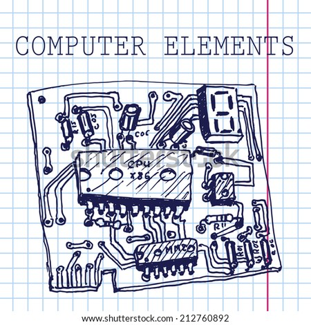 Vector hand draw computer circuit board on paper. Eps10 - stock vector