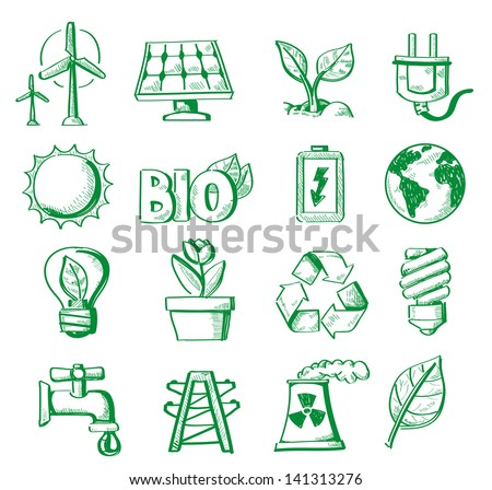 vector hand draw energy icon set on white - stock vector