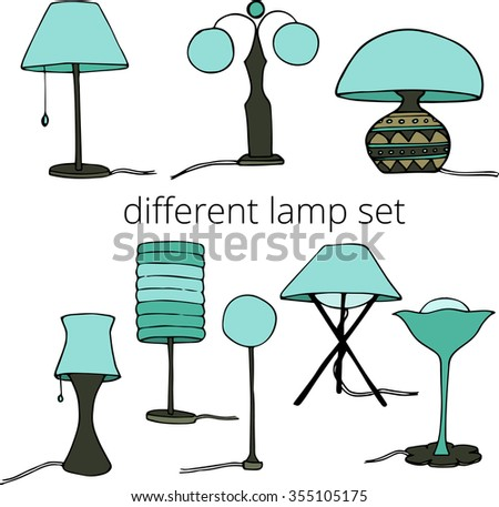 Vector hand draw table lamp set stock vector 355105175 shutterstock vector hand draw table lamp set aloadofball Image collections