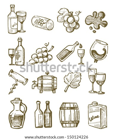 vector hand draw wine icons set on white - stock vector