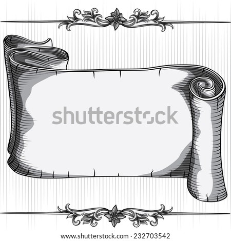 Vector hand drawing blank scroll - stock vector