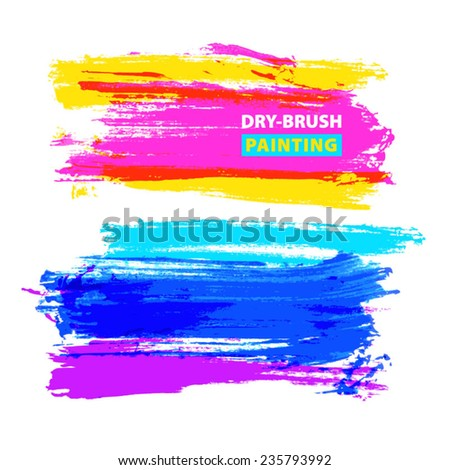 Vector hand-drawing multicolored textures of brush strokes. Abstract composition for design elements.