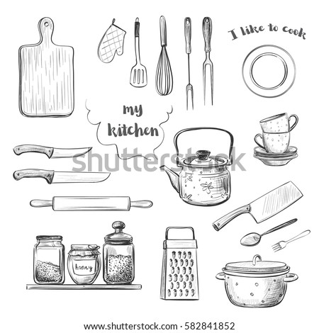 Vector Hand Drawings Crockery And Kitchen Utensils Knives Kettle Pot Jars