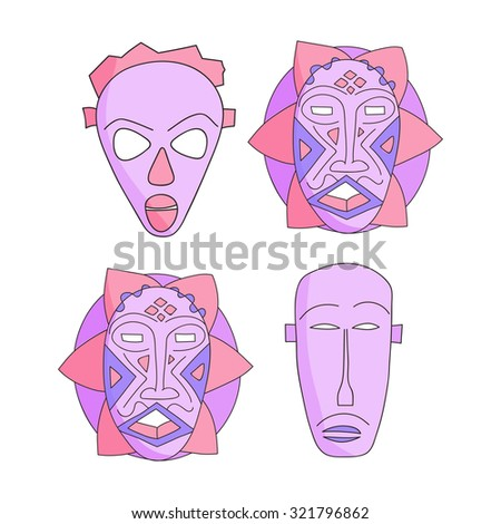 Vector hand drawn african masks set. Isolated national ritual elements sketch collection - stock vector