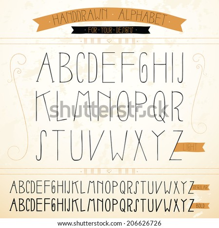 Vector hand-drawn Alphabet. - stock vector