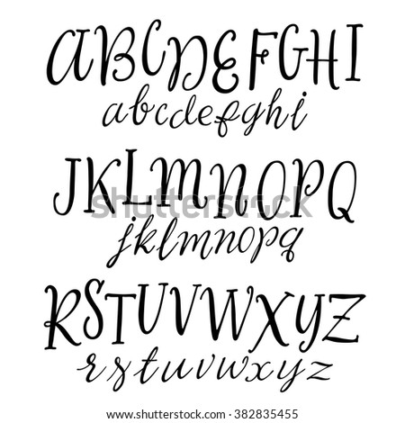 Vector Hand Drawn Alphabet Handwritten Script Font Lettering For Your Designs Logo