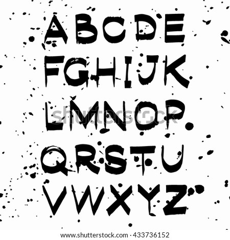 Vector hand drawn alphabet isolated. Hand drawn lettering, card, poster, text. ABC vector.