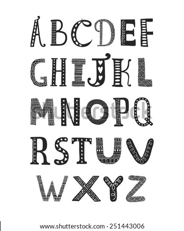 Vector hand drawn alphabet isolated on white background, doodle letters collection with decorative, floral and etnic elements - stock vector