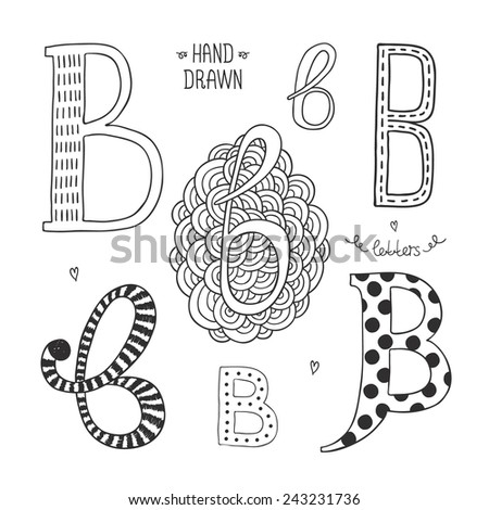 Vector hand drawn alphabet, letter b. Doodle letters set isolated on white background - stock vector