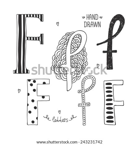 Vector hand drawn alphabet, letter f. Doodle letters set isolated on white background - stock vector