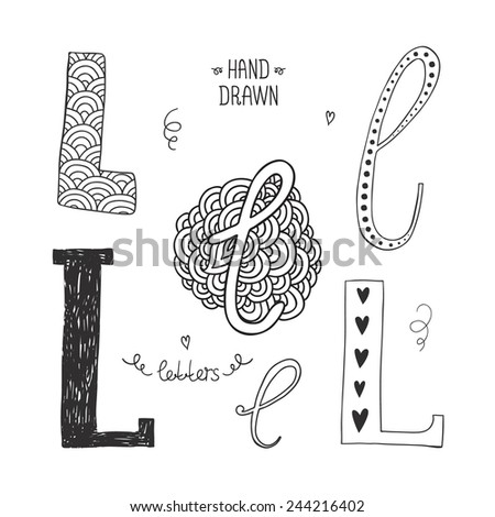 Vector hand drawn alphabet, letter l. Doodle letters set isolated on white background - stock vector