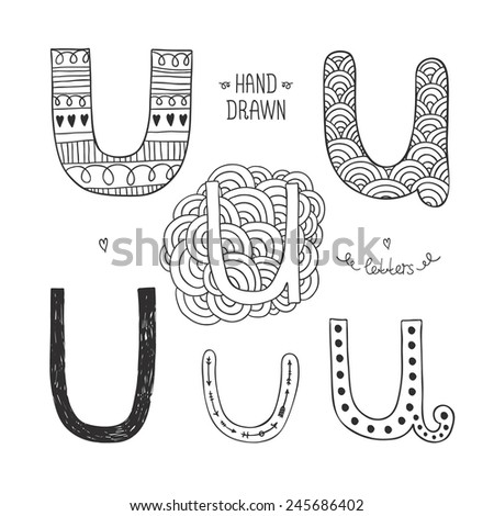 Vector hand drawn alphabet, letter u. Doodle letters set isolated on white background - stock vector