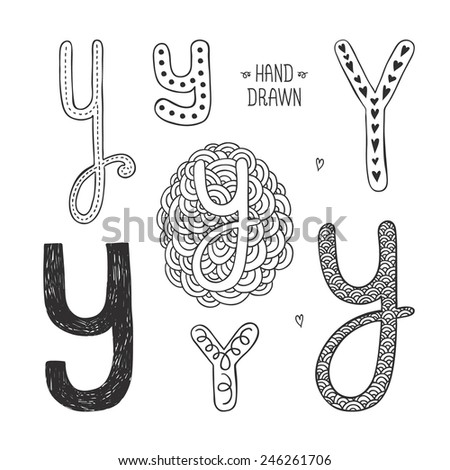 Vector hand drawn alphabet, letter y. Doodle letters set isolated on white background - stock vector