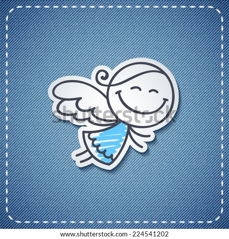 vector hand drawn angel on denim background - stock vector