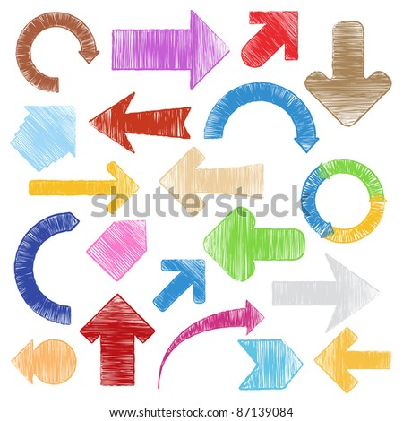 Vector hand drawn arrows - stock vector