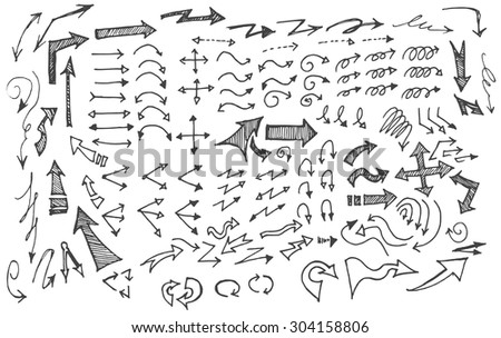 Vector hand drawn arrows set isolated on white - stock vector