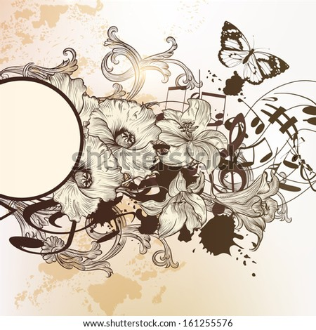 Vector hand drawn  background design in classic floral style - stock vector
