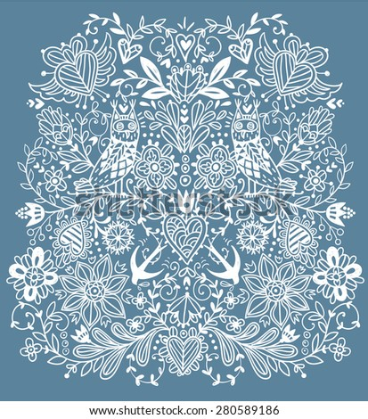 vector hand drawn background with owls,birds and floral doodles  - stock vector
