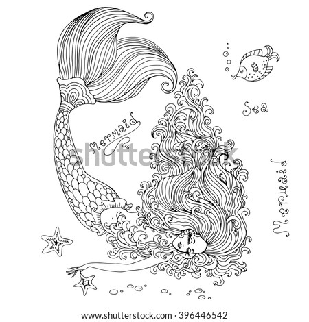 Vector hand drawn beautiful mermaid lying on the seabed. Mermaid with long wavy hair sleeps on the bottom of the sea with a beautiful scaly tail, with the fish and starfish. On a white background - stock vector