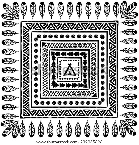 vector hand drawn black and white pattern in the style of boho or hippy. Tribal elements - stock vector