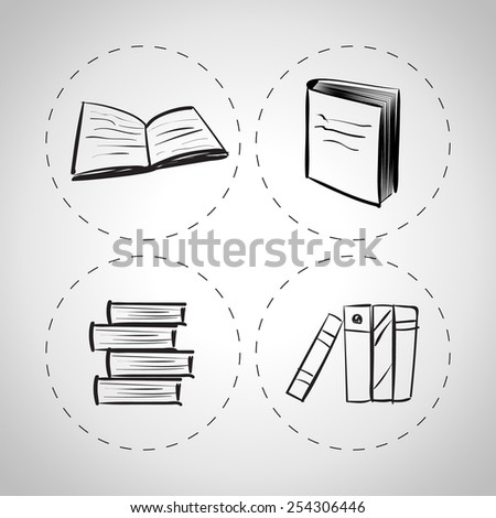 vector hand drawn books icon set on a white background - stock vector